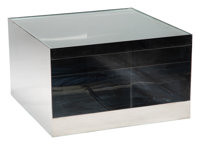 Joseph d'Urso (American, 1943) Low Rolling Table, Model 6027T, circa 1980 Stainless steel, safety glass 16-1/4 x 27 x