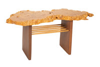 Mira Nakashima (American, b. 1942) Portsmouth side table, 2004 Maple burl, American black walnut, hi