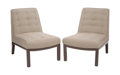 Furniture, Edward Wormley (American, 1907-1995). Pair of Slipper Chairs, circa 1965, Dunbar. Upholstery, lacquered mahogany. 32 x 2... (Total: 2 Items)