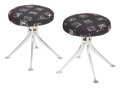 Furniture, Alexander Hayden Girard (American, 1907-2007). Pair of Stools, Model #66308, circa 1968. Cast aluminum, upholstery. 18 x... (Total: 2 Items)