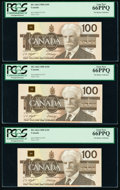 World Currency, Canada Bank of Canada $100 1988 BC-60d Five Consecutive Examples PCGS Gem New 66PPQ (5).. ... (Total: 5 ...