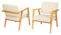 Furniture, Franco Albini (Italian, 1905-1977). Pair of Armchairs, Model 49, circa 1952, Knoll. Stained birch, upholstery. 30-1/2 x ... (Total: 2 Items)