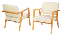 Franco Albini (Italian, 1905-1977) Pair of Armchairs, Model 49, circa 1952, Knoll Stained birch, upholstery 30-1/2 x...