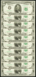 Fr. 1968-F* $5 1963A Federal Reserve Star Notes. Ten Consecutive Examples. Choice Crisp Uncirculated