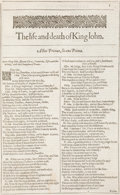 Books:Literature Pre-1900, [William Shakespeare]. [Second Folio]. The Life and Death of King John. [from Mr. VVilliam Shakespeares comedies, ...