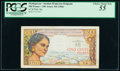 World Currency, Madagascar Institut d'Emission 500 Francs = 100 Ariary ND (1966) Pick 58a PCGS Choice About New 55.. ...