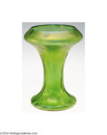 Art Glass:Loetz, Loetz: A GREEN IRIDESCENT RUSTICANA GLASS VASE (Loetz)