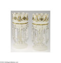 Art Glass:Other , A PAIR OF WHITE OPALENE VICTORIAN LUSTERS