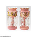 Art Glass:Other , A PAIR OF PINK OPALINE VICTORIAN LUSTERS