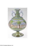 Art Glass:Other , AN ITALIAN ENAMELED GLASS VASE (Unsigned)
