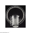 Art Glass:Lalique, Rene Lalique, 'Bahia': A GLASS PITCHER AND TRAY (Rene ... (2 Items)