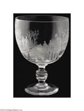 Art Glass:Other , AN ENGRAVED GLASS GOBLETBavarian, c.1890