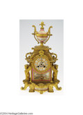 Decorative Arts, French:Other , Sevres: A BRONZE, ENAMELED AND PORCELAIN CLOCK (Sevres)