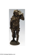 Sculpture, Rousseau: A FRENCH FIGURAL BRONZE SCULPTURE (Rousseau) . Rousseau, c.1880. Sculpted to depict a village fisherman with a n...