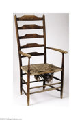 Decorative Arts, English:Other , A CHARLES RENNIE MACKINTOSH OAK AND RUSH LADDER BACK ...