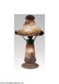 Art Glass:Schneider, Schneider: A GLASS AND WROUGHT IRON TABLE LAMP (Schneider)