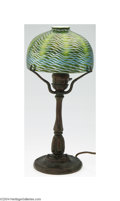 Art Glass:Tiffany , Tiffany: A BRONZE LAMP WITH FAVRILE GLASS SHADE (Tiffany)