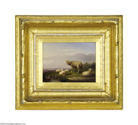 FRANCOIS VANDEVERDONCK (Belgian 1848-1875) Sheep in a Landscape, 1871 (pair) Oil on panel 7in. x 9.375in. Signed and dat...