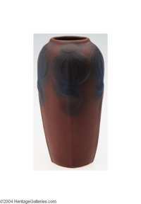 Van Briggle: A PARIAN ROSE AMERICAN POTTERY VASE (Van Briggle) Van Briggle, c.1915  The rich burgundy to blue coloration...