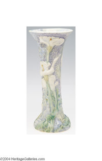 Weller: A SILVERTONE AMERICAN POTTERY FLARING VASE (Weller) Weller, c.1915  The pastel blue textured background molded w...