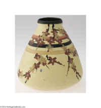 Weller: A HUDSON STYLE AMERICAN POTTERY VASE (Weller) Weller, c.1900  Of conical form, the white ground decorated in the...