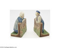 Ceramics & Porcelain, American:Modern  (1900 1949)  , Rookwood: A PAIR OF AMERICAN POTTERY BOOKENDS (Rookwood)