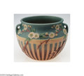 Ceramics & Porcelain, American:Modern  (1900 1949)  , Roseville: A CHERRY BLOSSOM PINK AMERICAN POTTERY JARDINIERE ...
