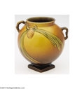 Ceramics & Porcelain, American:Modern  (1900 1949)  , Roseville: A PINE CONE BROWN AMERICAN POTTERY VESSEL (...