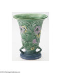 Ceramics & Porcelain, Roseville: A MORNING GLORY GREEN AMERICAN POTTERY VASE. Roseville, c.1935. The green background molded with purple and yel...
