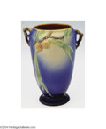 Ceramics & Porcelain, American:Modern  (1900 1949)  , Roseville: A PINE CONE BLUE FOOTED AMERICAN POTTERY VASE (...