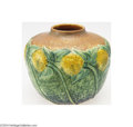 Ceramics & Porcelain, Roseville: A SUNFLOWER AMERICAN POTTERY VASE. Roseville, c.1930. With strong mold and color, the dark blue, forest green, ...