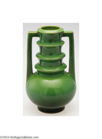 Roseville: A FUTURA AMERICAN POTTERY TWO-HANDLED VASE Roseville, c.1924  The bulbous base and stacked neck covered in a...