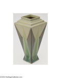 Ceramics & Porcelain, Roseville: A FUTURA AMERICAN POTTERY FOUR-SIDED VASE. Roseville, c.1924. The art deco design with layered pastel coloratio...