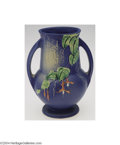 Ceramics & Porcelain, American:Modern  (1900 1949)  , Roseville: A FUCHSIA BLUE AMERICAN POTTERY BULBOUS FOOTED ...