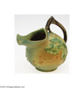 Ceramics & Porcelain, American:Modern  (1900 1949)  , Roseville: A BUSHBERRY GREEN AMERICAN POTTERY WATER PITCHER (...