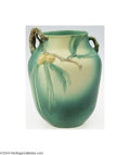 Ceramics & Porcelain, American:Modern  (1900 1949)  , Roseville: A GREEN PINE CONE AMERICAN POTTERY VASE (...