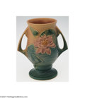 Ceramics & Porcelain, American:Modern  (1900 1949)  , Roseville: A WATER LILY PINK AMERICAN POTTERY VASE (...