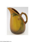 Ceramics & Porcelain, American:Modern  (1900 1949)  , Roseville: A PINE CONE BROWN AMERICAN POTTERY PITCHER (...