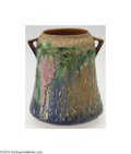 Ceramics & Porcelain, American:Modern  (1900 1949)  , Roseville: A WISTERIA BLUE AMERICAN POTTERY CYLINDRICAL TWO-...