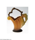 Ceramics & Porcelain, American:Modern  (1900 1949)  , Roseville: A PINE CONE BROWN AMERICAN POTTERY BASKET (...