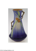 Ceramics & Porcelain, American:Modern  (1900 1949)  , Roseville: A PINE CONE BLUE AMERICAN POTTERY CORSETED VASE (...