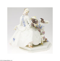 Meissen: A 'LADY AND THE MOOR' GERMAN PORCELAIN FIGURINE (Meissen) Meissen, c.1890  In high glaze white with vibrant col...