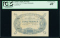 World Currency, Senegal Banque du Senegal 5 Francs 1874 Pick A1 Unassigned Remainder PCGS Extremely Fine 40.. ...