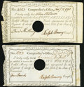 State of Connecticut Comptrollers Office 1790 5s; £5 Very Fine-Extremely Fine, POC. ... (Total: 2 notes)