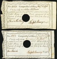State of Connecticut Comptrollers Office 1790 Two Examples Very Fine-Extremely Fine, POC. ... (Total: 2 notes)