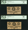 Confederate Notes:1864 Issues, T72 50 Cents 1864 PF-1 Cr. 578 Two Examples PCGS Currency Choice About New 55; About New 50.. ... (Total: 2 notes)