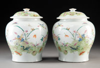 A Pair of Chinese Famille Rose Porcelain Jars with Covers on Hardwood Stands, late Qing Dynasty Marks: six-charac
