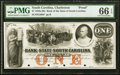 Obsoletes By State:South Carolina, Charleston, SC- Bank of the State of South Carolina $1 18__ Proof PMG Gem Uncirculated 66 EPQ.. ...