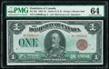 World Currency, Canada Dominion of Canada $1 2.7.1923 Pick 33e DC-25e PMG Choice Uncirculated 64.. ...