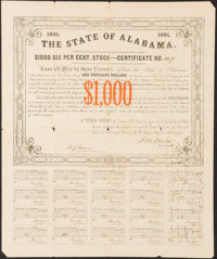 (Montgomery), AL- State of Alabama Bond $1,000 1864 Cr. 62B Fine